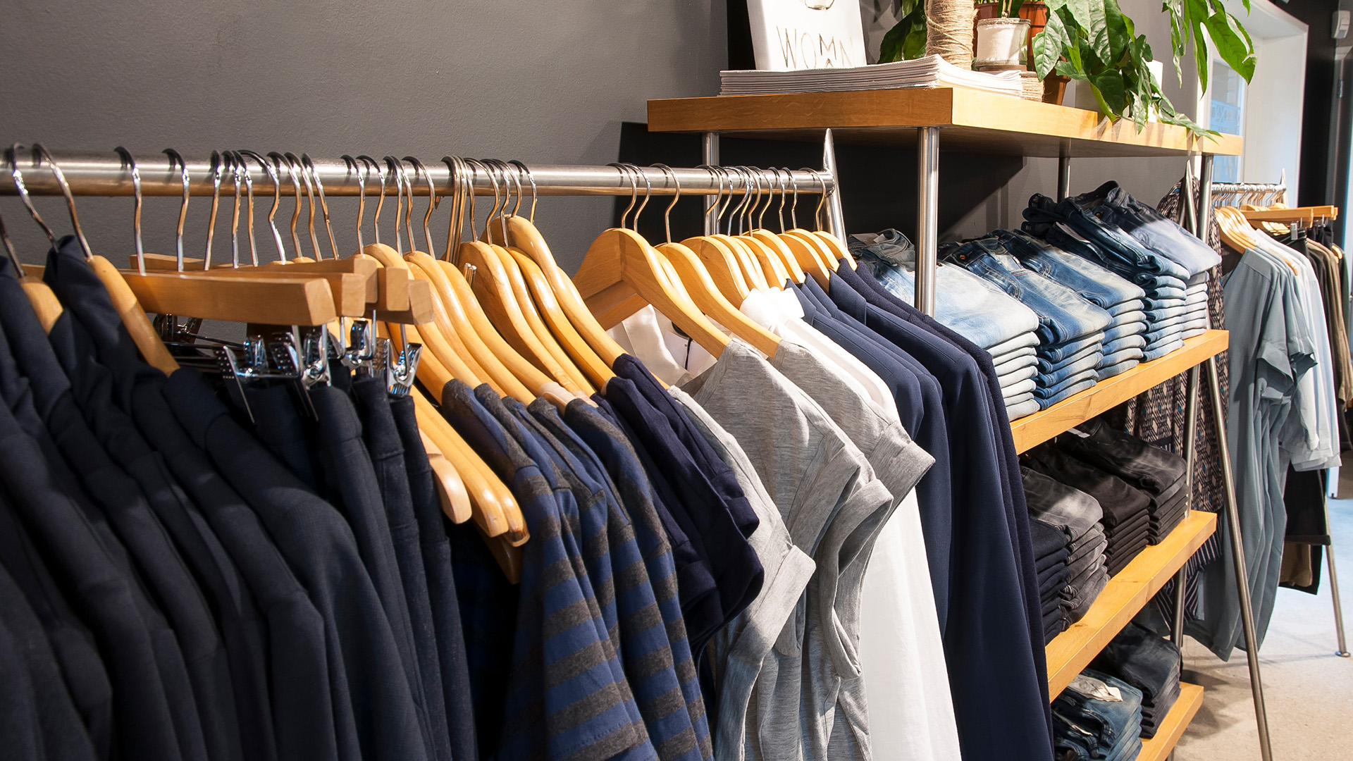 Blue clothes on rack