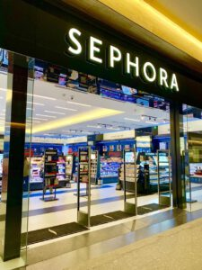 Sephora store front with gates